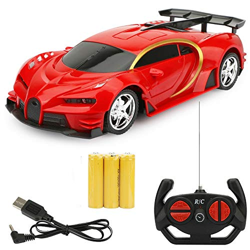 Wapipey RC Cars 1:18 Sports Car Bugatti RC Racing Car 2.4GHz 4W Steering Servo High Speed RC Racing Cars Kids Monster Trucks Best Halloween (Color : Red)