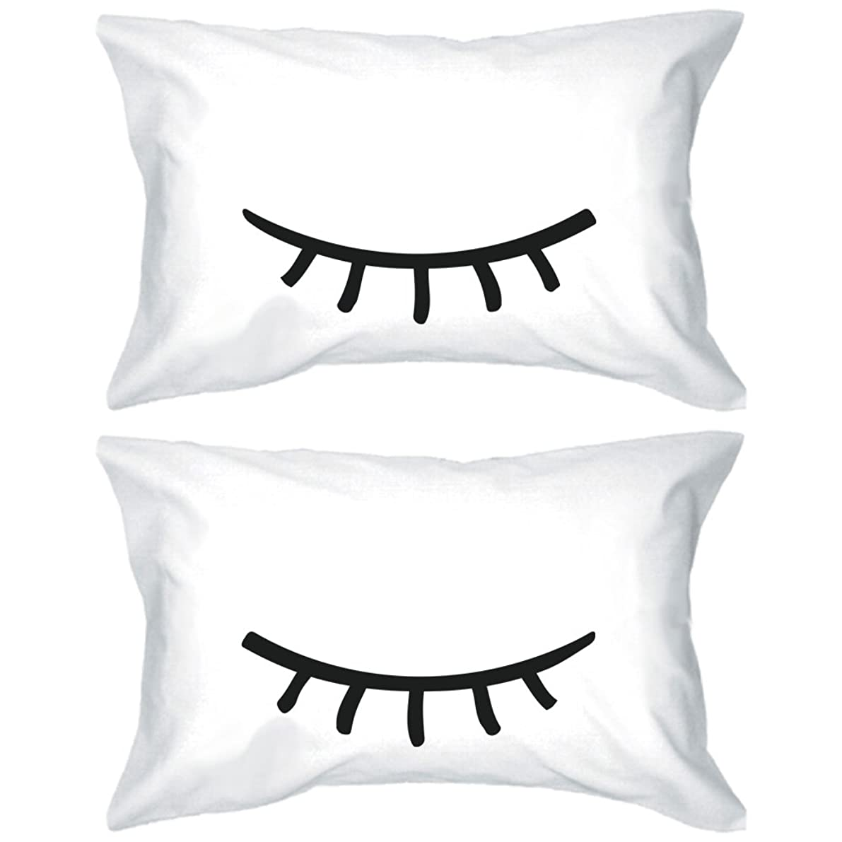 Cute Pillowcases 300-Thread-Count Standard Size 21 x 30 - Sleeping Eyelashes