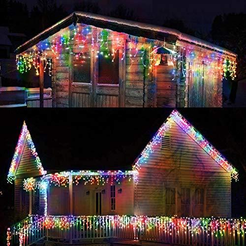 Abkshine LED Icicle Christmas Lights Multicolored, 42.6Ft 400 LEDs Icicle Christmas House Lights , 8 Modes Colored Christmas Icicle Lights Outdoor for Christmas Wedding Room Wall, House Eave, Porch