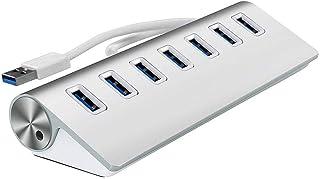 7 Port USB 3.0 Hub Trands Aluminum Multi-Port USB Hub with Built-in Cable