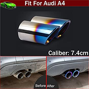 New 1pcs Blue Color Double Outlets Stainless Steel Tailpipe Exhaust Muffler Tail Pipe Tip Cover Trim Custom Fit For Kia Forte 2009 2010 2011 2012 2013 2014 2015 2016 2017 2018 2019 2020