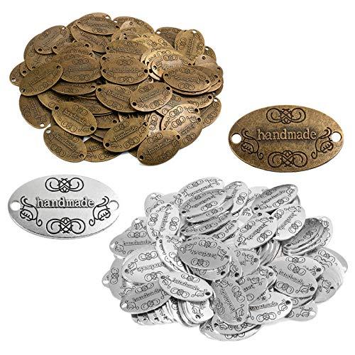 200 unidades de botones hechos a mano de metal con etiqueta hecha a mano, colgantes para manualidades, fabricación de joyas, accesorios hechos a mano, accesorios de ropa, decoración