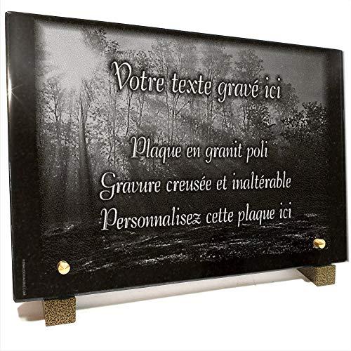 Plaque funéraire forêt Rayons de Soleil en Granit gravé Personnalisable 30 x 20 x 2 cm