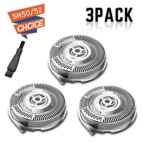 SH50 / 52 Replacement Heads for Philips Electric Shaver Series 5000 with Sharp Blades, Super Lift and Easy Cut, 3-Pack ( Non- Original Heads )