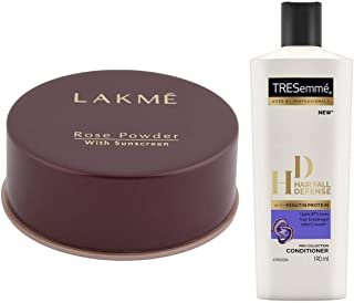 Lakme Rose Face Powder, Warm Pink, 40g & TRESemme Hair Fall Defense Conditioner, 190ml