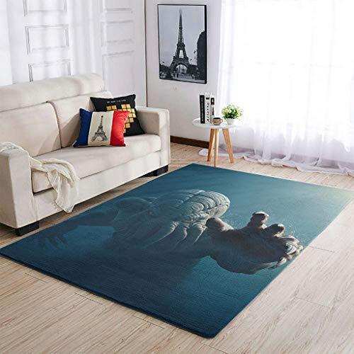 Uicoomhill Cthu-lhu - Alfombras modernas para decorar el salón, para dormitorio o cama, color blanco, 50 x 80 cm