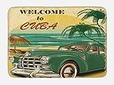 Ambesonne Retro Bath Mat, Nostalgic Welcome to Cuba Print Classic Car Beach Ocean Palm Trees, Plush Bathroom Decor Mat with Non Slip Backing, 29.5' X 17.5', Green Cream