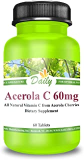 Daily Nutrition | Acerola C | 60 mg Vitamin C from Acerola Cherries - 60 Chewable Tablets
