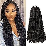 Niseyo NU 24 Inch New Faux Locs Crochet Hair 6 Packs Natural Black Soft Locs for Black Women Long Pre-looped Goddess Locs Braiding Hair(1B)
