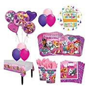 Mayflower Products 8 Guest 53pc Paw Patrol Girls Skye and Everest Birthday Party Supplies and Balloon Decoration Kit