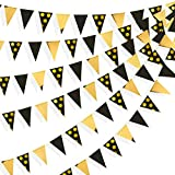 39 Ft Black and Gold Foil Polka Dot Pennant Banner Paper Triangle Flags Bunting Garland Streamer for Wedding Baby Bridal Shower Birthday Bachelorette Engagement Anniversary New Year Party Decorations