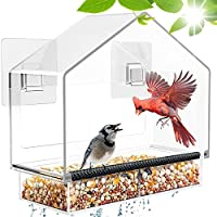 Bning Window Bird Feeder with Removable Tray with Drain Holes