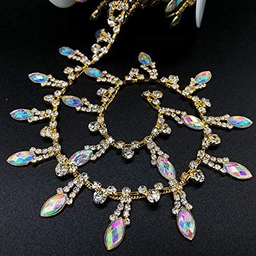 Cadena de borla de diamantes de imitación de 1 yarda, apliques de cadena de cierre de cristal, para manualidades, boda, fiesta de novia..