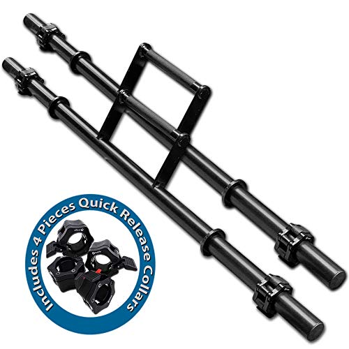 """BodyRip Olympic 2"""" Farmer Walk Handles Barbell Bars Pair with 4 Pieces Quick Release Collars 