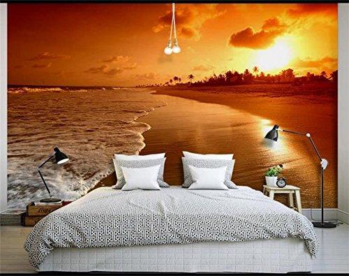 Yosot Custom 3D Fototapete Wohnzimmer Wandbild Sonnenuntergang Am Meer 3D-Malerei Fernseher Sofa Hintergrund Wall Sticker Tapeten Für 3D-Wand-140Cmx100Cm
