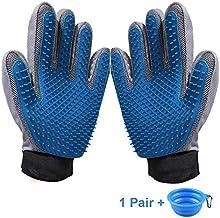 KAXYEW [Upgrade Version Pet Grooming Gloves - Dog Deshedding Glove - Efficient Cat Glove Brush- Pet Hair Remover Mitt Glove with Enhanced Five Finger Design for Dog & Cat