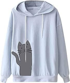〓COOlCCI〓Women's Fashion Hoodies & Sweatshirts,Womens Long Sleeve Cat Print Pullover Hoodie Sweatshirt Tops Blouse