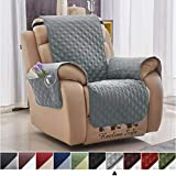 Argstar Light Gray Recliner Cover with Pockets for Dogs Pets Washable Chair Protector