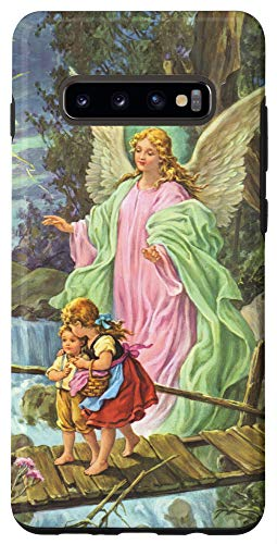 Galaxy S10+ Angel Guardian Angel on Bridge with Kids Classic Painting Case