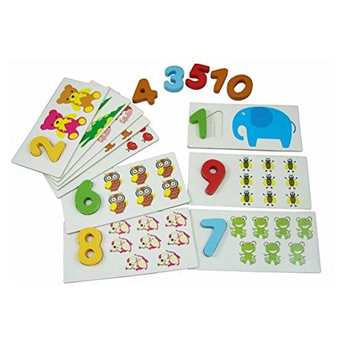 Pixnor arithmétique de correction numérique Carte appariement Nombre et animaux Puzzles Planche en bois Blocs numérique