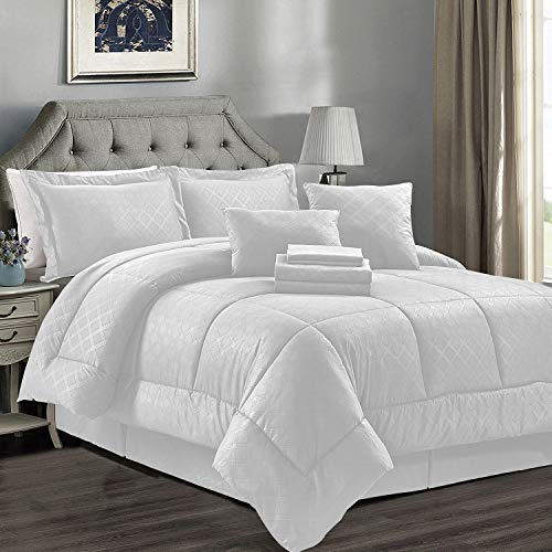 JML Comforter Sets Cal King Size, Microfiber Bedding Comforter Sets with Shams - Luxury Solid Color Quilted Embroidered Pattern, Perfect for Any Bed Room or Guest Room, White