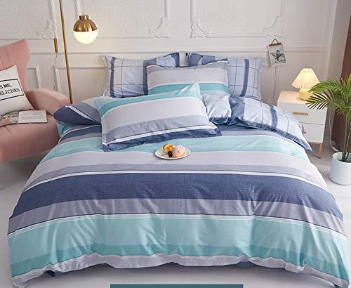 DUIPENGFEI Idyllic Soft Cotton Bedding Duvet Pillowcase Set, Comfortable Grey Stripes, Single Duvet Cover 3-Piece Set, 160 * 210Cm