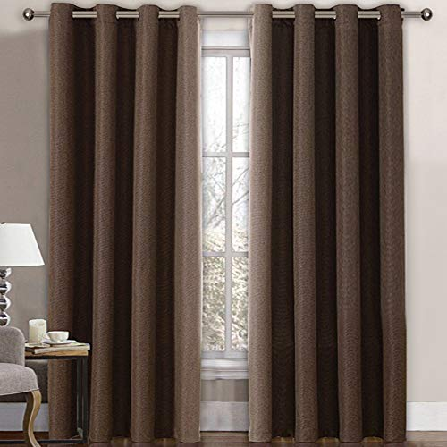 Linen Blackout Curtain 84 Inches Long for Bedroom / Living Room Thermal Insulated Grommet Linen Look Curtain Drapes Primitive Textured Burlab Effect Window Drapes 1 Panel - Cocoa Brown