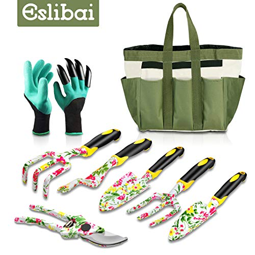 Eslibai Garden Tools Set, 9 Gardening Tools with Soft Garden...