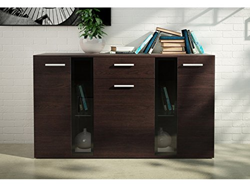 Home Direct Ltd Moderno Mueble de salón Bingo - Conjunto & aparador (Aparador Bingo wengué Mate, sin LED)