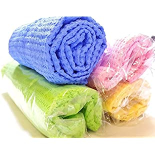 Multi-purpose Super Absorbent lint-free Synthetic Chamois Magic Drying Towel Quiq Drying pack of 2 (Green)