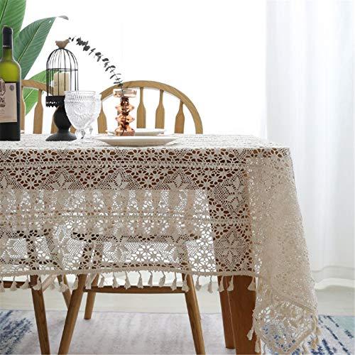 SWECOMZE Spitze Tischdecke Handarbeit Aushöhlen Rechteck Tischdecke 100% Baumwolle Vintage Spitzeauflage Boho Hochzeit Tisch Dekor (A,100 * 140cm)