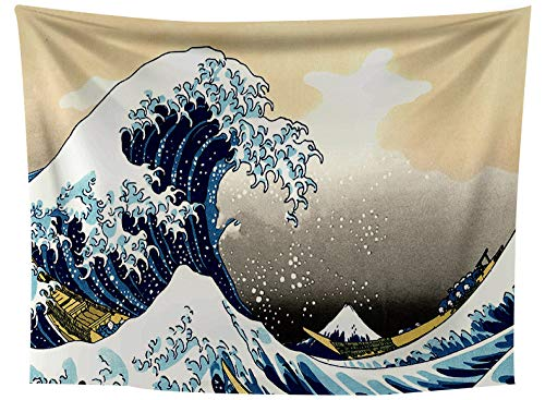 asdas Tapestry,Mandala Impression Art Indian 3D Printing Polyester Ocean Decoration Wave Picnic Blanket, Dormitory Living Room Bedroom Study Room Window Wall,Ripple,152X130Cm