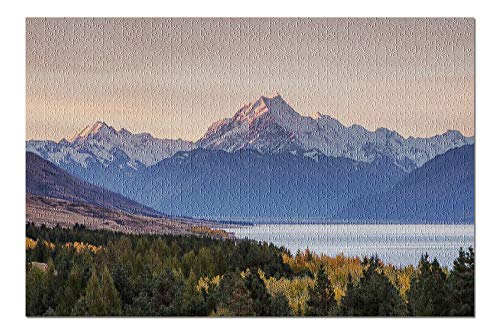 Mt. Cook, New Zealand - Alpine Lake & Mountain with Alpenglow 9021533 (19x27 Premium 1000 Piece Jigsaw Puzzle, Made in USA!)