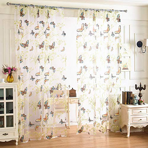 Excellent Window Curtains for Bedroom Slot Top Curtain Panel Voile Window Treatment Drape Dandelion and Butterfly Pattern Curtain for Living Room Home Door Decor-200 100CM 1 PC Durable and Practical