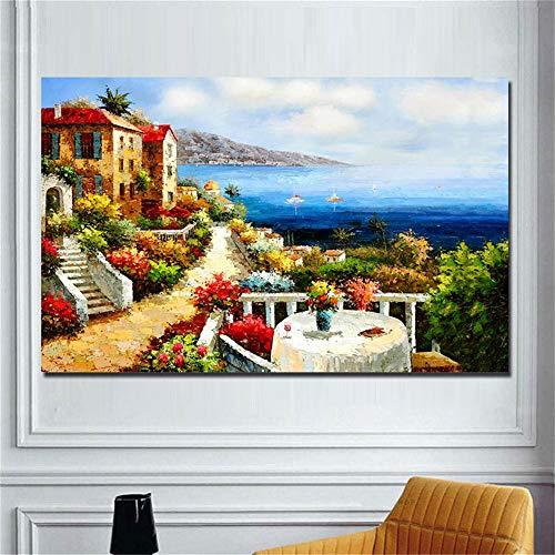 Danjiao Mediterrane Landschaft Ölgemälde Druck Auf Leinwand Abstrakte Seascape Leinwand Malerei Wand Drucke Kunst Bild Für Wohnzimmer 40x60cm