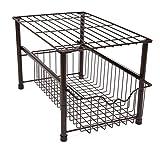 Amtido Stackable Under Sink Cabinet Organiser with Sliding Basket Drawer for Kitchen and Bathroom - Bronze