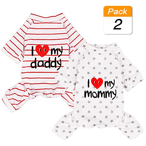 2-Pack Cotton Dog Pajamas Lightweight Dog Onesies for Small Medium Dogs and Cats Puppy Body Suits Cute Baby Dog Jumpsuit I Love My Mommy/Daddy Printed Pet Clothes, Grey Stars/Red Stripes, S