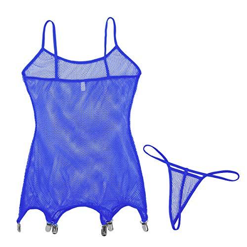Freebily Damen Strapsen Dessous mit Hosenträger Clips Perspektive Strapshalter Strumpfgürtel Lingerie Teddy Body Nachtwäsche mit Strings Clubwear Royal Blau OneSize