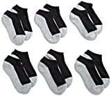 Jefferies Socks boys Seamless Sport Low Cut Half Cushion (Pack of 6) athletic socks, Black/Grey, Medium US