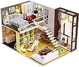DIVISTAR Casa de muñecas miniatura DIY Patio Kit creativo habitación con muebles para regalo romántico - con movimiento de música y luces