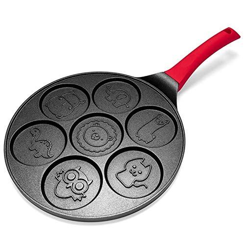 Creador de panqueques - panqueque sin palanca de panceta sin palanca Pan Pan Mini creador de 7 moldes con mango de silicona, animal negro wok (Color : Animal)