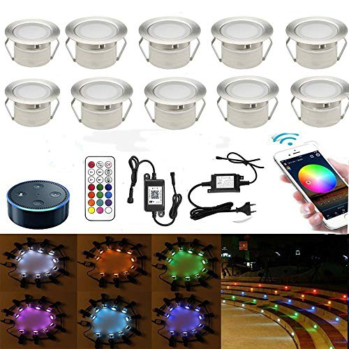 10er RGB WIFI LED Bodeneinbauleuchten terrassenbeleuchtung Arbeitet mit Alexa, Google Home,DC12V Ø45mm IP67 Wasserdicht LED Einbaustrahler Terrassen Full Kit