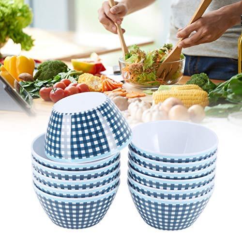 Liyeehao Cuenco de Comida, Porcelana de imitación Duradera, 12 Piezas, Cuenco de Comedor de Gran Capacidad para Recipiente de Comida para GIFS de Cocina(Dark Blue Grid)