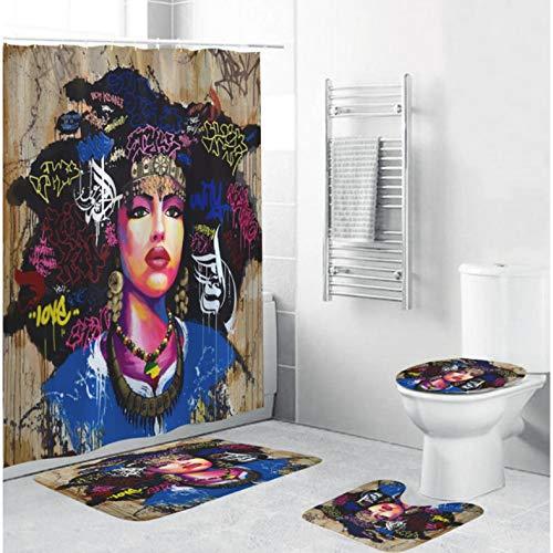 ZLWSSA Afroamerikaner Frauen Duschvorhänge Afro Sexy Mädchen Königin Prinzessin rutschfeste Teppiche Toilettendeckelabdeckung Badematte W180xH180cm