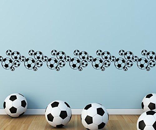 Wandtattoo selbstklebend Bordüre Fussball Karo Muster Ball Spieler Bälle Sport Set Wand Aufkleber Wohnzimmer 1U367, Farbe:Schwarz glanz;Länge x Breite:100cm x 14cm