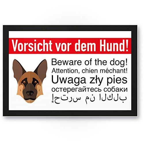 Schäferhund Kunststoff Schild - Vorsicht vor dem Hund - Hunde Kunststoff Schild, Hinweisschild Grundstück mehrsprachig - Türschild Haustüre, Warnschild / Einbruchschutz - Achtung Schäferhund