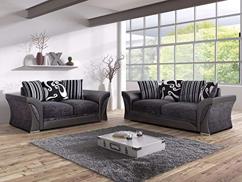 Click for more options-FARROW SHANNON CORNER LARGE SOFA 3 2 1 SEATER SWIVEL CHAIR GREY BLACK BEIGE BROWN (GREY/BLACK, 3 SEATER)