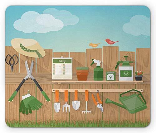 Zaun Mauspad, Gartengeräte hängen auf Holzbrettern Vögel Hobby Freizeit Schaufel Handschuhe Blumen, Rechteck rutschfest Gummi Mousepad, Standardgröße, mehrfarbig