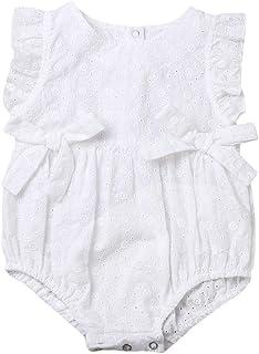 زهرة طفل الفتيات الكشكشة رومبير الصيف الرضع الوليد الطفل بذلة playsuit القوس ملابس الطفل (Color : White, Kid Size : 0-3M)