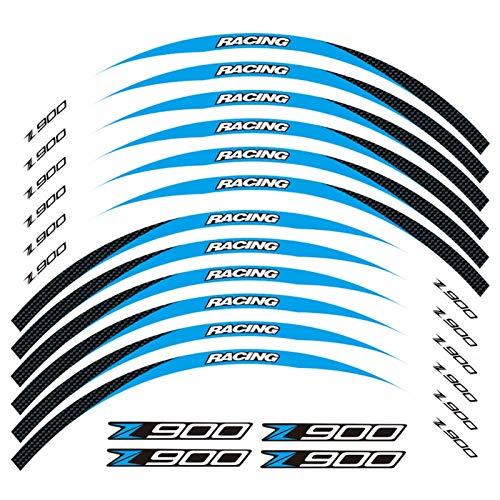 Nueva calcomanía de la Etiqueta de la Etiqueta de la Rueda de la Motocicleta Raya reflexivo de la calcomanía de neumáticos a Prueba de Agua para Kawasaki Z900 (Color : 3)